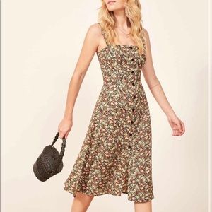 NWT Reformation Floral Persimmon Midi Dress Sz 4